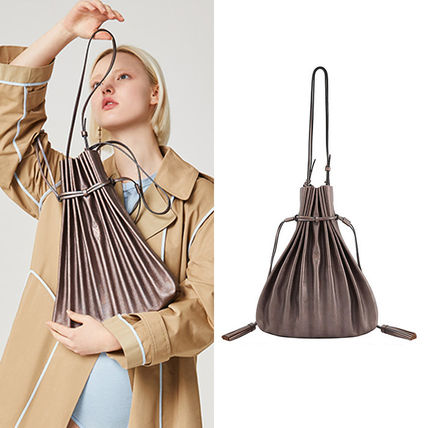 Casual Style Tassel A4 2WAY Plain Leather Totes