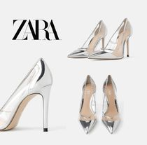 ZARA Plain Pin Heels Elegant Style Pointed Toe Pumps & Mules