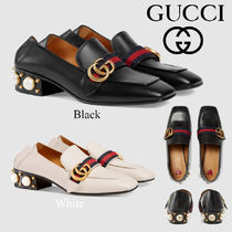 GUCCI Square Toe Plain Leather Block Heels Elegant Style