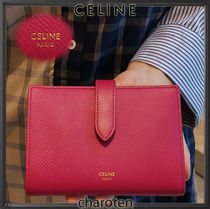 CELINE Strap Unisex Calfskin Plain Folding Wallets