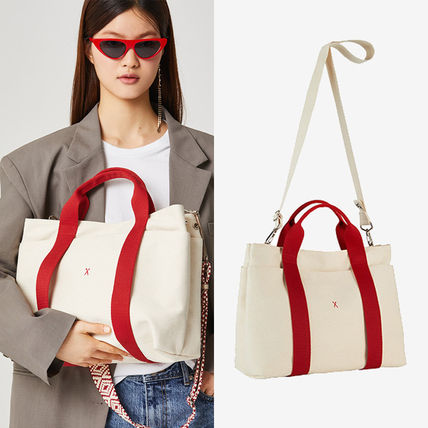 Stripes Casual Style Unisex Canvas A4 2WAY Plain Totes