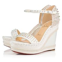 Christian Louboutin Madmonica Open Toe Casual Style Blended Fabrics Studded Plain Leather