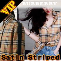 Burberry Other Check Patterns Unisex Long Sleeves Cotton