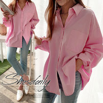 Casual Style Long Sleeves Plain Cotton Medium Oversized