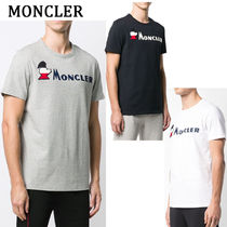 MONCLER Crew Neck Pullovers Street Style Plain Cotton Short Sleeves