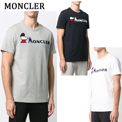 MONCLER Crew Neck Crew Neck Pullovers Street Style Plain Cotton Short Sleeves