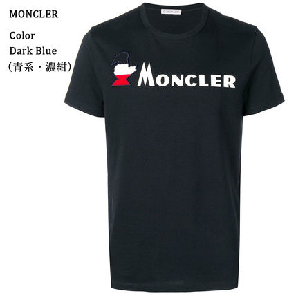 MONCLER Crew Neck Crew Neck Pullovers Street Style Plain Cotton Short Sleeves 2