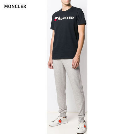 MONCLER Crew Neck Crew Neck Pullovers Street Style Plain Cotton Short Sleeves 3