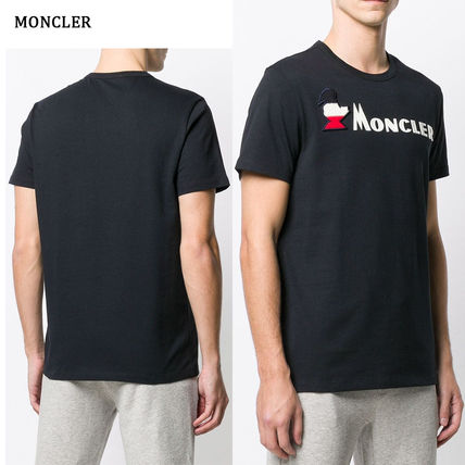 MONCLER Crew Neck Crew Neck Pullovers Street Style Plain Cotton Short Sleeves 4