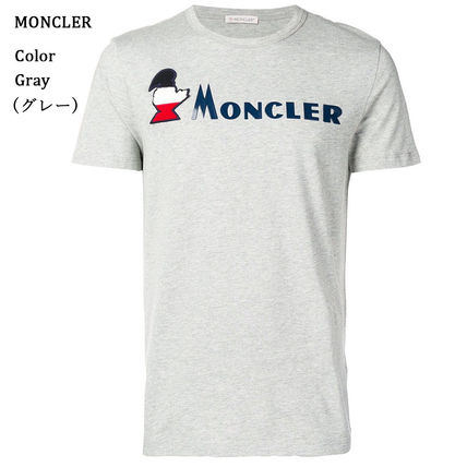 MONCLER Crew Neck Crew Neck Pullovers Street Style Plain Cotton Short Sleeves 6