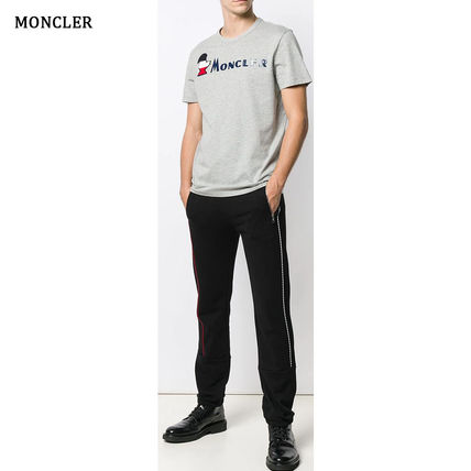 MONCLER Crew Neck Crew Neck Pullovers Street Style Plain Cotton Short Sleeves 7