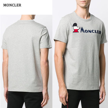MONCLER Crew Neck Crew Neck Pullovers Street Style Plain Cotton Short Sleeves 8