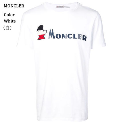 MONCLER Crew Neck Crew Neck Pullovers Street Style Plain Cotton Short Sleeves 10