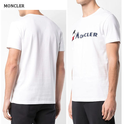 MONCLER Crew Neck Crew Neck Pullovers Street Style Plain Cotton Short Sleeves 12