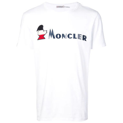 MONCLER Crew Neck Crew Neck Pullovers Street Style Plain Cotton Short Sleeves 14