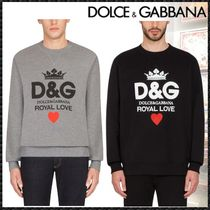 Dolce & Gabbana Crew Neck Pullovers Heart Long Sleeves Cotton Sweatshirts