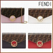 FENDI KAN I Monogram Chain Leather Long Wallets