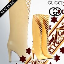 GUCCI Plain Toe Plain Leather Pin Heels High Heel Boots