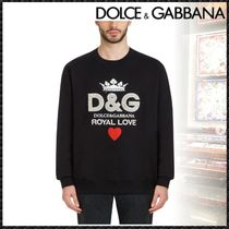 Dolce & Gabbana Crew Neck Pullovers Heart Long Sleeves Cotton With Jewels