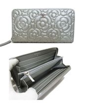 CHANEL ICON Flower Patterns Unisex Leather Long Wallet  Long Wallets