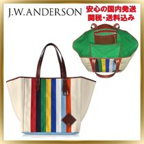 J W ANDERSON Stripes Canvas A4 Elegant Style Totes