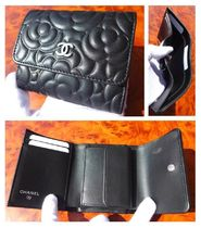 CHANEL TIMELESS CLASSICS Flower Patterns Unisex Leather Folding Wallets