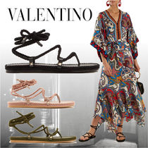 VALENTINO Open Toe Lace-up Casual Style Blended Fabrics Studded Plain