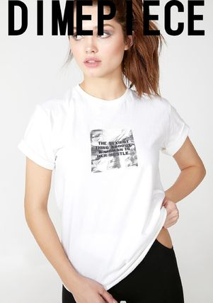 Crew Neck Street Style Plain Cotton Short Sleeves T-Shirts