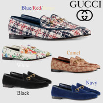 GUCCI Jordaan Other Check Patterns Plain Toe Casual Style Plain Leather