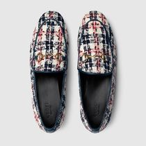 GUCCI Jordaan Other Plaid Patterns Plain Toe Casual Style Plain Leather