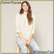 Outer known Stripes Long Sleeves Plain Cotton Handmade Shirts & Blouses
