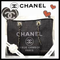 CHANEL DEAUVILLE Casual Style Unisex Canvas A4 Totes