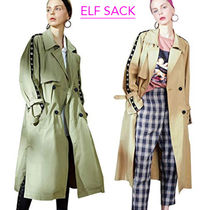 ELF SACK Casual Style Plain Long Trench Coats