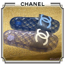 CHANEL Open Toe Casual Style Plain PVC Clothing Sandals