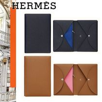 HERMES Calfskin Plain Clutches