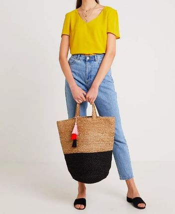Blended Fabrics A4 Bi-color Plain Straw Bags