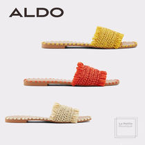 ALDO Open Toe Casual Style Faux Fur Plain Fringes Oversized