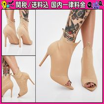 DOLLS KILL Open Toe Casual Style Plain Pin Heels Ankle & Booties Boots