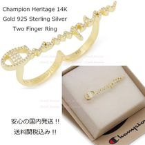 CHAMPION Unisex Street Style Collaboration Plain Silver Rings