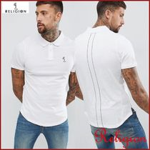 Religion Street Style Plain Cotton Short Sleeves Oversized Polos