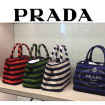 PRADA CANAPA Stripes Casual Style Canvas 2WAY Totes