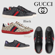 GUCCI Ace Stripes Leather Sneakers