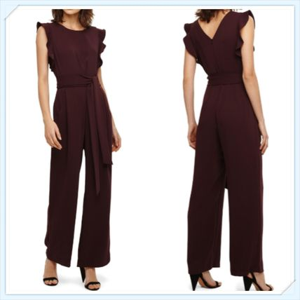 Crew Neck Dungarees Puffed Sleeves Plain Long