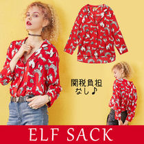 ELF SACK Flower Patterns Casual Style Street Style Long Sleeves