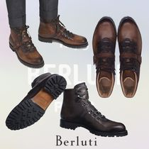Berluti Plain Toe Mountain Boots Plain Leather Outdoor Boots