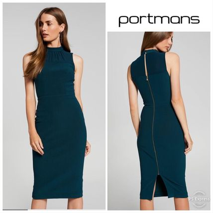 Tight Sleeveless Plain Medium High-Neck Office Style Dresses