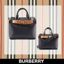 Burberry 2WAY Plain Leather Totes