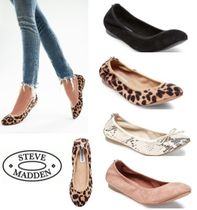 Steve Madden Leopard Patterns Round Toe Casual Style Faux Fur Studded