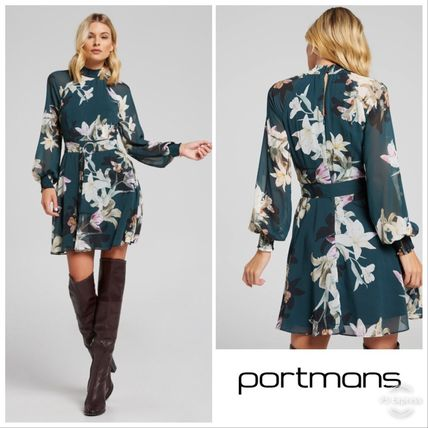 Flower Patterns Puffed Sleeves Flared Medium High-Neck