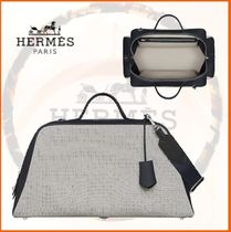 HERMES Canvas Blended Fabrics Street Style A4 2WAY Bi-color Plain
